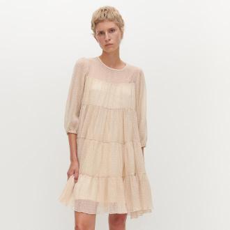 Reserved - Sukienka z tkaniny plumeti - Kremowy