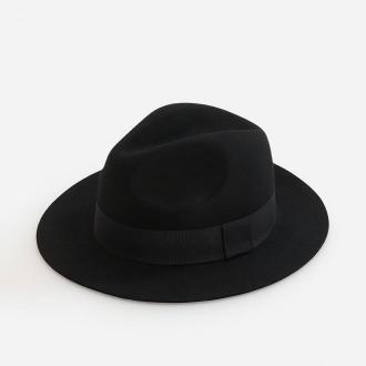 Reserved - Wełniany kapelusz fedora - Czarny