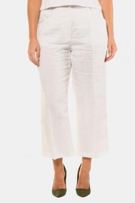 Duże rozmiary Lniane spodnie 7/8 Marlena, damska, biały, rozmiar: 46, len, Ulla Popken