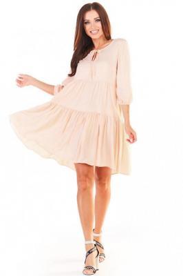 Sukienka Mini w Stylu Boho - Beżowa