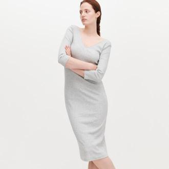 Reserved - Dzianinowa sukienka - Jasny szary
