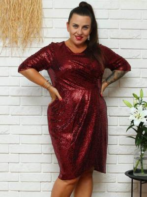 Sukienka połyskująca drapowana ołówkowa JOLKA czerwona z cekinami PROMOCJA