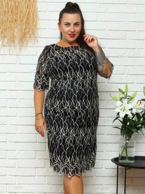 Sukienka ołówkowa ALA czarna siateczka ze złotym wzorem PROMOCJA