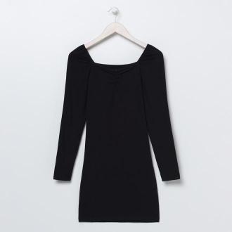 Sinsay - Sukienka mini z dekoltem typu caro - Czarny