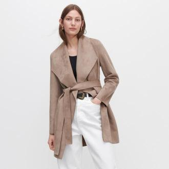 Reserved - Płaszcz z imitacji zamszu - Beżowy
