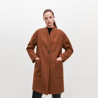 Reserved - Gładki płaszcz - Brązowy