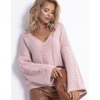 Sweter z dekoltem V F785