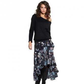 Ooh la la Spódnica długa w kwiatowy wzór Spódnice Czarny Dorośli