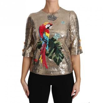 Dolce & Gabbana Parrot Kryształ cekinowe bluzki Bluzki i koszule Żółty