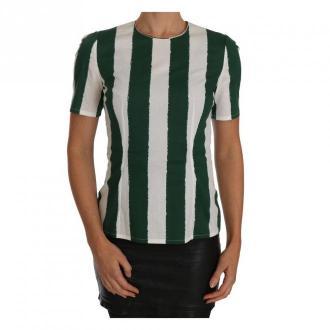 Dolce & Gabbana Bluzka w paski z nadrukiem Top Bluzki i koszule