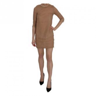 Pink Memories 3/4 Sleeve Crewneck Shift Mini Dress Sukienki Brązowy