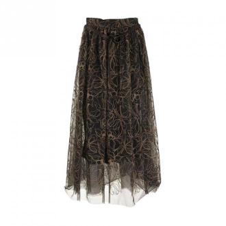 Brunello Cucinelli Skirt Raw Embroidery tulle skirt Spódnice Brązowy