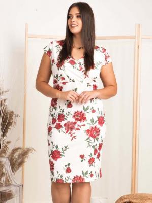 sukienka na komunie w kwiaty ołówkowa BONITA LETNIA biała w róże PROMOCJA