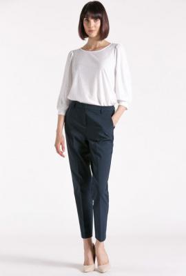 Eleganckie spodnie 7/8 z nogawką w kant