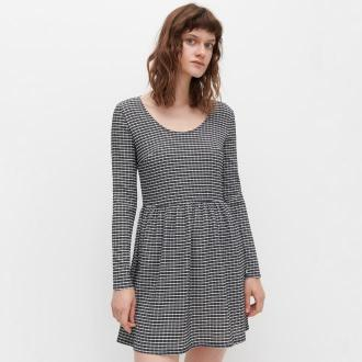 Reserved - Dzianinowa sukienka w kratę - Czarny