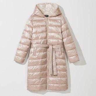 Mohito - Długi pikowany płaszcz z kapturem - Beżowy