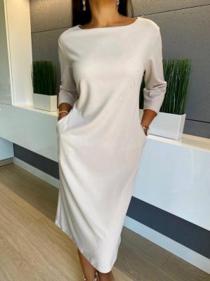 Beżowa Sukienka z Kieszeniami 4643-61-A