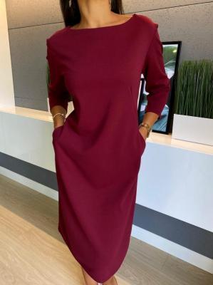 Bordowa Sukienka z Kieszeniami 4643-61-B