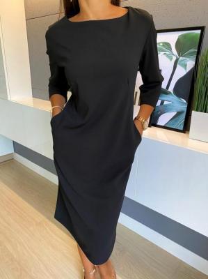 Czarna Sukienka z Kieszeniami 4643-61-C