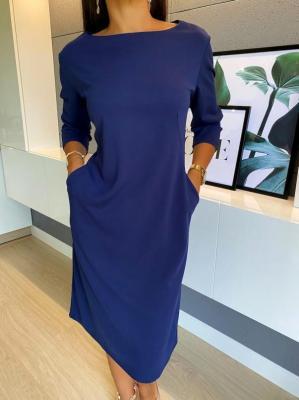 Granatowa Sukienka z Kieszeniami 4643-61-E