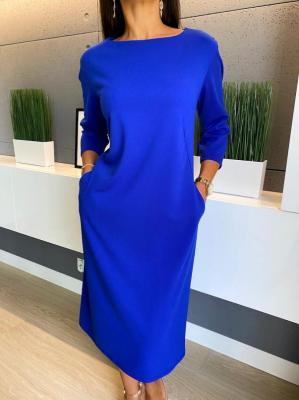 Kobaltowa Sukienka z Kieszeniami 4643-61-F