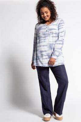 Duże rozmiary Spodnie Mary, damska, niebieski, rozmiar: 46, len, Ulla Popken