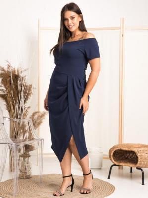 Sukienka ekskluzywna hiszpanka DELICJA long plus size efektowne rozcięcie granatowa