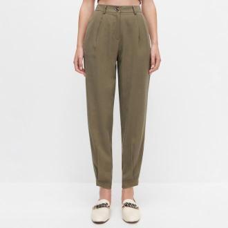Reserved - Spodnie z wiskozy - Khaki