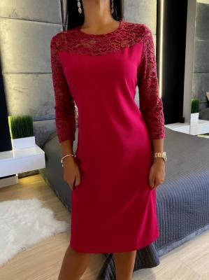 Różowa Sukienka z Koronką 4640-76-G