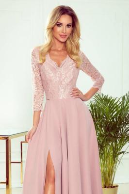 Elegancka, długa, koronkowa suknia z dekoltem