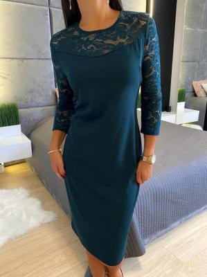 Ciemno-Zielona Sukienka z Koronką 4640-76-I