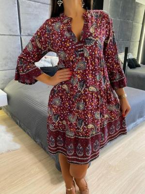 Bordowa Sukienka w Orientalny Wzór 4744-63-A