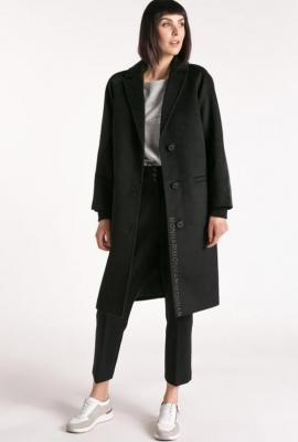 Wełniany płaszcz z logo Monnari
