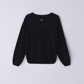 Cropp - Sweter z dekoltem V - Czarny