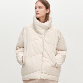Reserved - PIkowana kurtka z ociepleniem - Kremowy