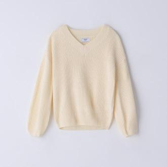 Cropp - Sweter z dekoltem V - Kremowy