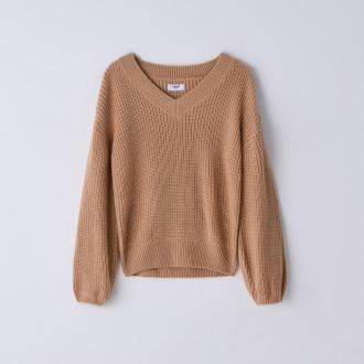 Cropp - Sweter z dekoltem V - Beżowy