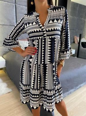 Beżowo-Czarna Sukienka Oversize 4760-14