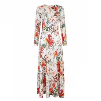 Nife sukienka maxi z wycięciami na rękawach w kwiaty Sukienki Biały