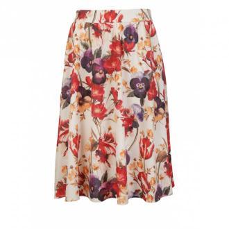 Nife Rozkloszowana spódnica do kolan w modne kwiaty Spódnice Beżowy