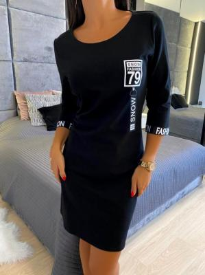 Czarna Sportowa Sukienka 4717-96-A