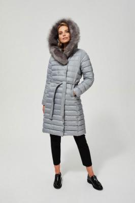 Puchowy płaszcz z futerkiem