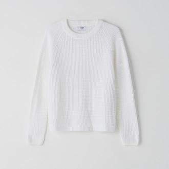 Cropp - Sweter o ryżowym splocie - Biały