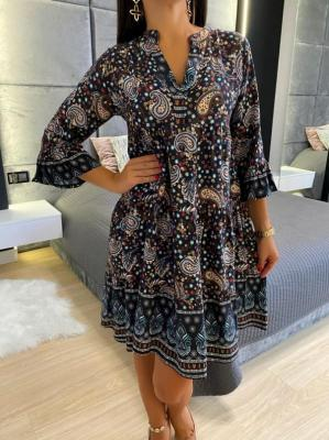 Czarna Sukienka w Orientalny Wzór 4744-63-B