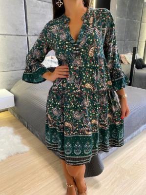 Zielona Sukienka w Orientalny Wzór 4744-63-D