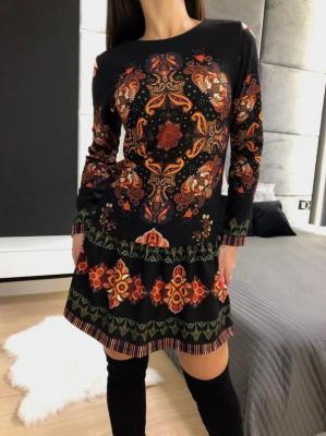 Sukienka z Pomarańczowym Etnicznym Wzorem 4785-64