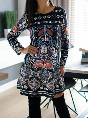 Sukienka z Etnicznym Wzorem Samoa 4782-318