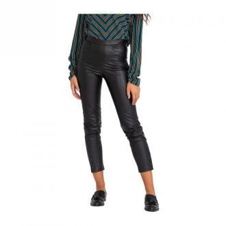 Patrizia Pepe Black tight-fitting eco-leather trousers Spodnie Czarny