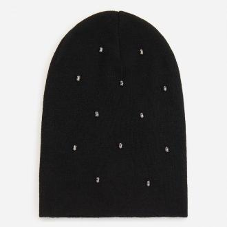 Reserved - Czarna czapka z kryształkami - Czarny