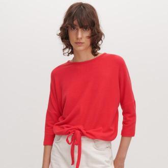 Reserved - Sweter z wiązaniem - Czerwony